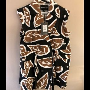 Who What Wear Woodcut Leaf Print Dress